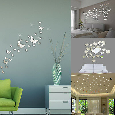 50PCS DIY 3D Acrylic Mirror Wall Sticker Decal Art Mural Home Decor Removable UK