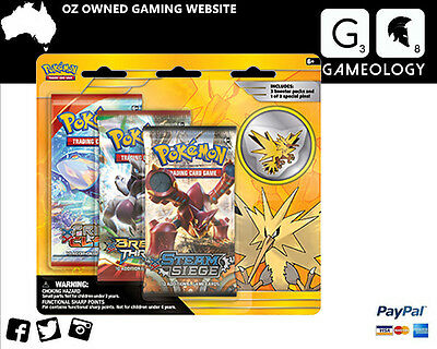 POKEMON TCG Zapdos 3 Pack Pin Blister