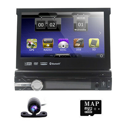 "7"" Single 1 Din Car MP3 DVD Stereo Player Touch Screen GPS IPOD Radio BT"