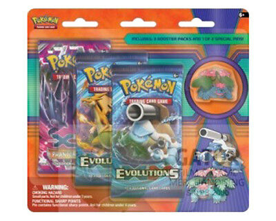 POKEMON TCG Mega Venusaur Collector's Pin 3 booster packs Blister