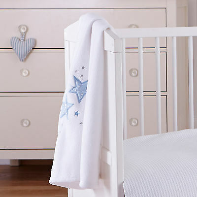 New Clair De Lune Blue Stardust Pram / Crib / Moses Basket Soft Baby Blanket