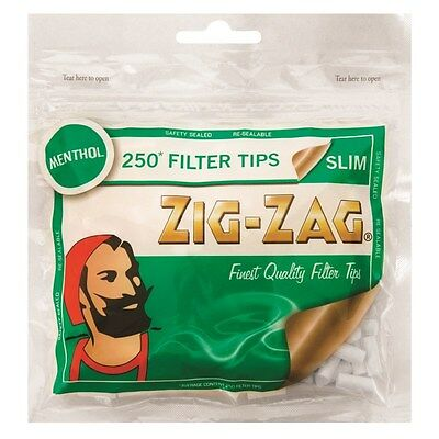 250 x Zig-Zag Slim Filters Menthol Finest Quality Rolling Tobacco Cigarette Tips
