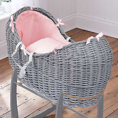 Clair De Lune Pink Waffle Grey Wicker Baby Moses Basket / Noah Pod & Mattress