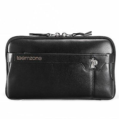 Teemzone Men's Genuine Leather Zipper Clutch Bag with Inner Pouches