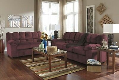 Peachy Ashley Overstuffed Burgundy Wine Sofa Loveseat Casual Living Pabps2019 Chair Design Images Pabps2019Com