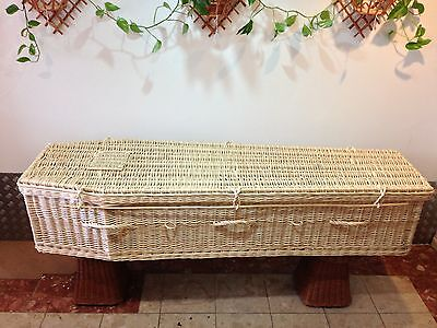 DISCOUNT - white wicker coffin for cremation