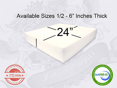 """24"""" x 24"""" Square Upholstery Cushion Replacement Foam Sheet - FREE SHIPPING"""