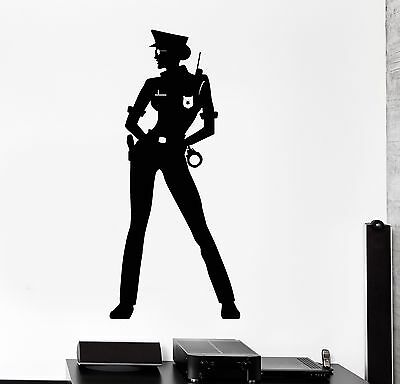 Vinyl Wall Decal Woman Police Officer Law Stickers Mural (263ig)