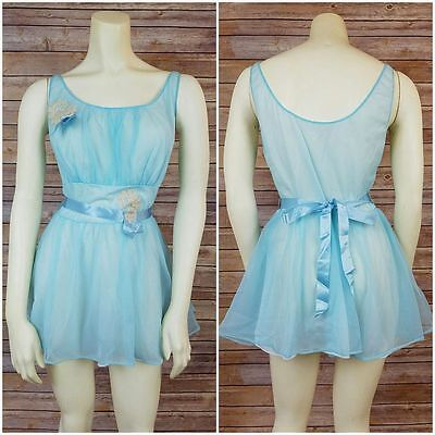 Vintage Vanity Fair Tricot Blue Nylon Nightgown Nighty Lingerie Size 34 Lace