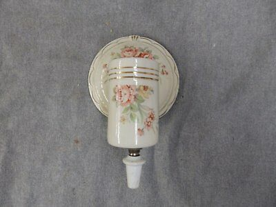 Antique Porcelain Rose Light Fixture Shabby Floral Chic Old Sconce 1853-16
