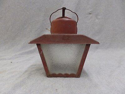 Vintage Mid Century Porch Sconce Wall Light Fixture Old Brick Red 1854-16