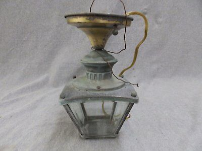 Vintage Brass Porch Ceiling Light Fixture Retro Beveled Glass 1856-16