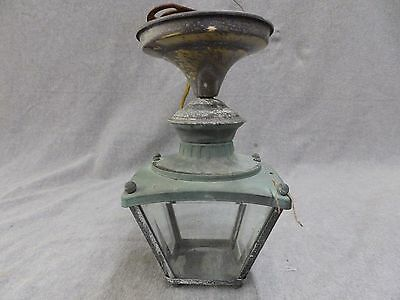 Vintage Brass Porch Ceiling Light Fixture Retro Beveled Glass 1857-16