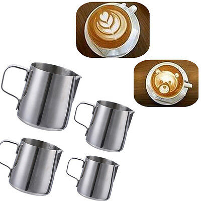 Kitchen Expresso Stainless Steel Craft Coffee Milk Latte Jug Frothing 150-900ML
