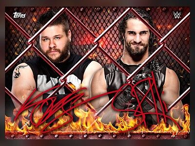 Hell In A Cell Dual Red Signature Kevin Owens Seth Rollins Topps Wwe Slam