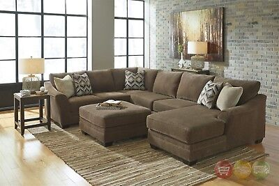 JUSTYNA TEAK DELUXE Brown U Shaped Sectional Sofa With ...