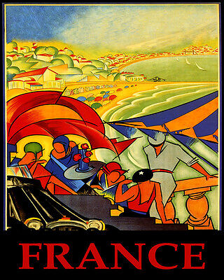 Poster France European Beach Party Sailing Summer Travel Vintage Repro Free S/h