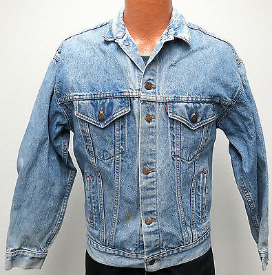 vtg Levi's BLUE Jean Jacket Distres BOYS XL 80s Red Tab 57506 usa trucker youth