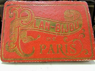 Paris antique city plan 1886 miniature folding pocket format map