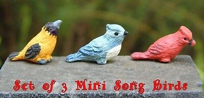 3 pc MINIATURE SONG BIRDS for FAIRY GARDEN DOLLHOUSE Oriole Cardinal Blue Jay