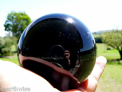 BLACK CRYSTAL BALL WITH WOODEN STAND 50 mm Wicca Witch Pagan Goth SCRYING