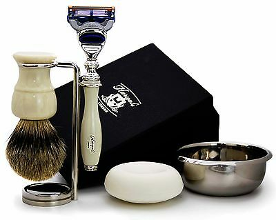 Ivory Colour Men's Shaving Set.the Set Comes With Brush,razor,stand,bowl & Soap