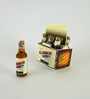 Dollhouse Miniature Six Pack of Lager Beer Bottles, FA40027