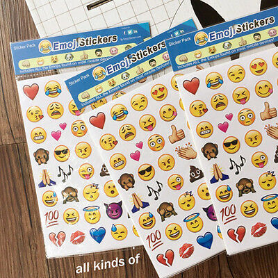 4 Sheets Emoji Emotion Smile Face Stickers Cartoon Notebook Message Funny Stick