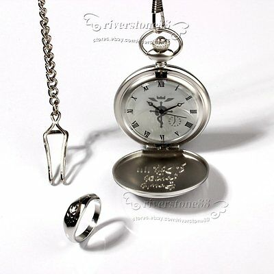 Fullmetal Alchemist  Pocket Watch+Necklace+Ring Set Anime Elric Anime cosplay