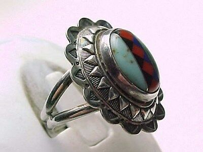 VINTAGE INLAID ZUNI STERLING Turquoise Lapis Malachite Coral Onyx RING Size 6