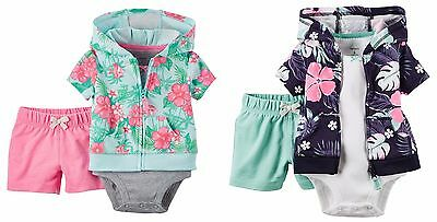 NEW NWT Carter's Girls 3 Piece Cardigan Shorts Set Hawaiian 3 6 9 12 Months