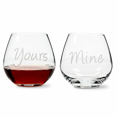"Set of 4, 21 Oz Glass ""YOURS"" & ""MINE"" Stemless Goblet"