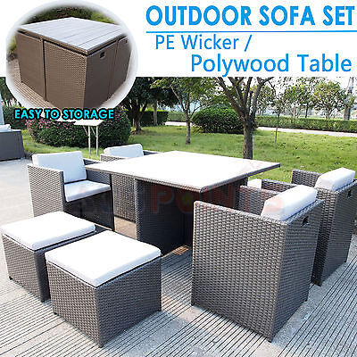 9 Piece Outdoor Sofa Set Furniture Wicker PE Rattan Garden Lounge Polywood Table