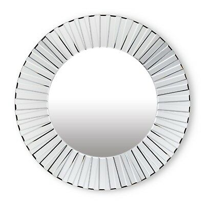 "34"" Glass Round Bevel Sunray Wall Mirror"