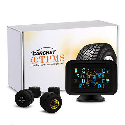 TPMS LCD Tire Tyre Monitoring Pressure System W/ 4 External Sensors Wireless