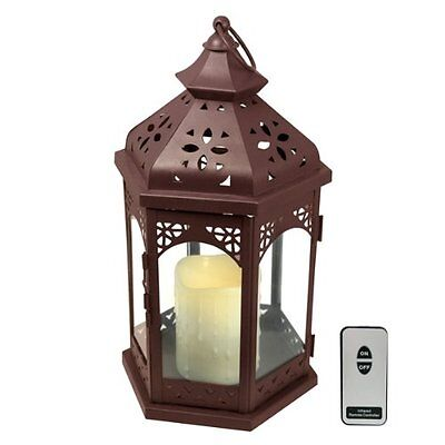 Artis Flameless LED Candle Glass Christmas Lantern with Remote Control - Brown