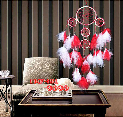 beautiful red white feathers dream catcher handmade home wall hanging decoration
