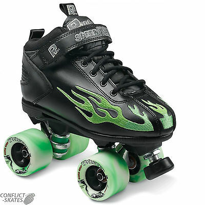 "SURE-GRIP ""Rock Flame"" Quad Roller Skates Size 4 - 9 UK GREEN SALE Roller Derby"