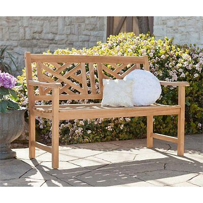 Southern Enterprises Russell Chippendale Patio Bench in Natural Teak