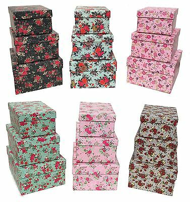 Set of 3 Floral Rectangle Hard Cardboard Gift Box Craft Storage Xmas Brithday