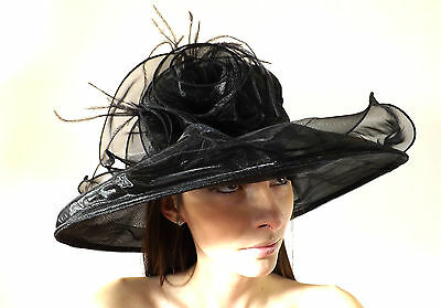 New Ladies Wedding Ascot Hat Organza English Rose Black Mother Of The Bride