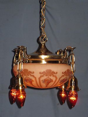 Antique Electric Brass Ceiling 5-Light Fixture Dome Center Shade Toggle Switches
