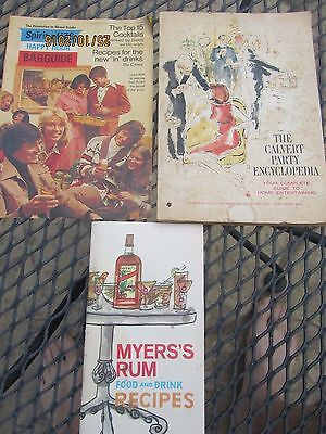 Lot of 3 BAR BOOKS Cocktails Recipes Party Encyclopedia - Myers's Rum 1976 1967