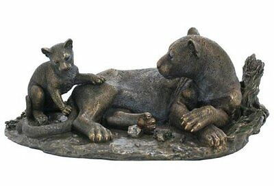 "15"" Leopard & Cub Statue Sculpture Figurine Animal Decor Figure Wildlife Safari"