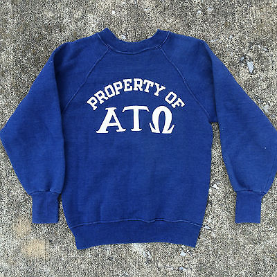 Vintage College University Fraternity Sorority Sweatshirt 1960's 70's XS/S Alpha