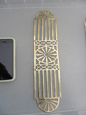 Antique Brass Finger Plate Push Door Handle Pierced Old Vintage Flower Fan