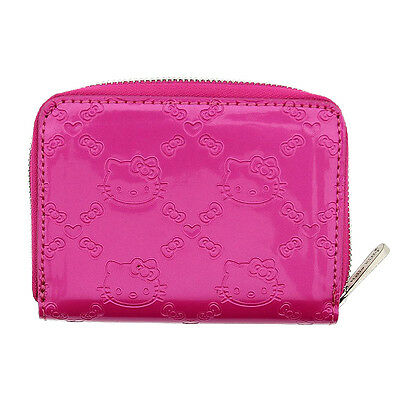 NWT Loungefly Hello Kitty Embossed Zip-Around Faux Patent Leather Wallet - Pink