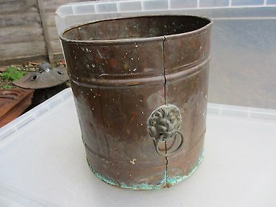 Vintage Copper Planter Plant Pot Tub Trough Brass Lion Head Loop Handle Antique