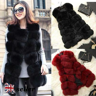 Ladies Faux Fur Gilet Waistcoat Sleeveless Vest Wrap Shrug Jacket Coat Outwear
