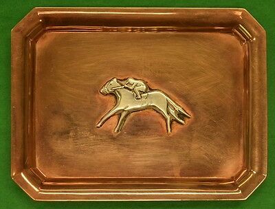 """Tiffany Sterling Silver Race Horse on Brass Ashtray"""